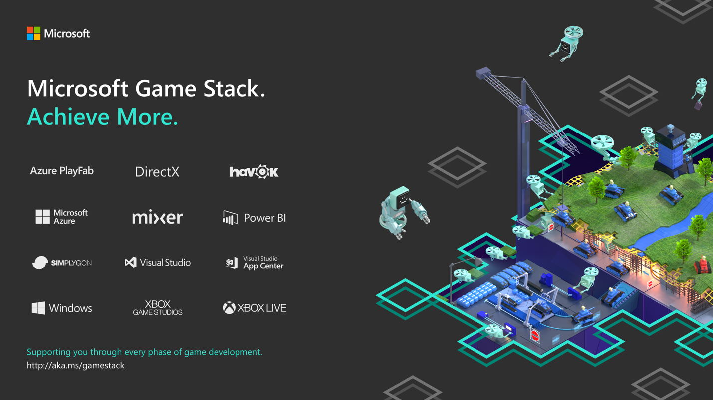 Illustration showing logos for each component of the Microsoft Game Stack