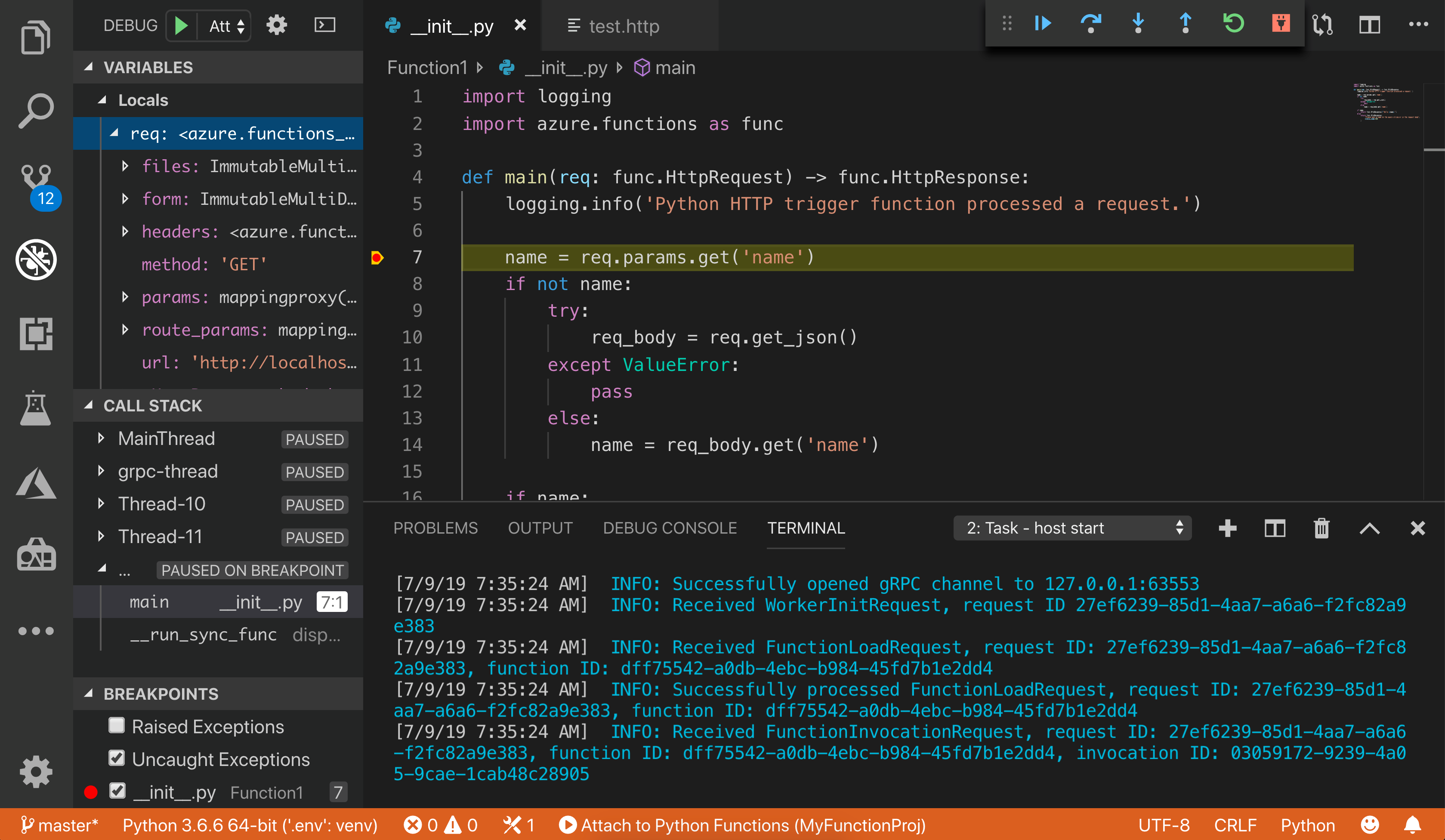 Azure Functions Visual Studio Code development