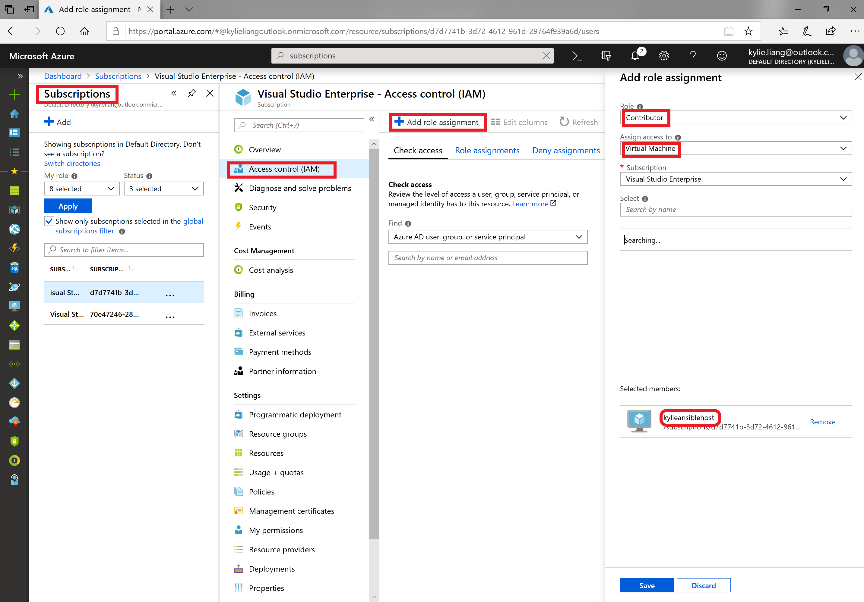 Screenshot of granting virtual machines access to subscriptions in the Azure portal