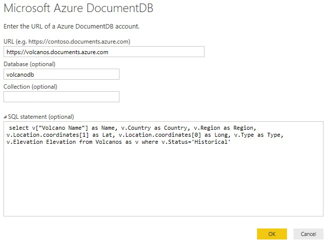DocumentDB PowerBI SQL