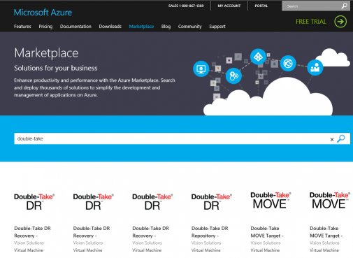 doubletake in Azure Marketplace
