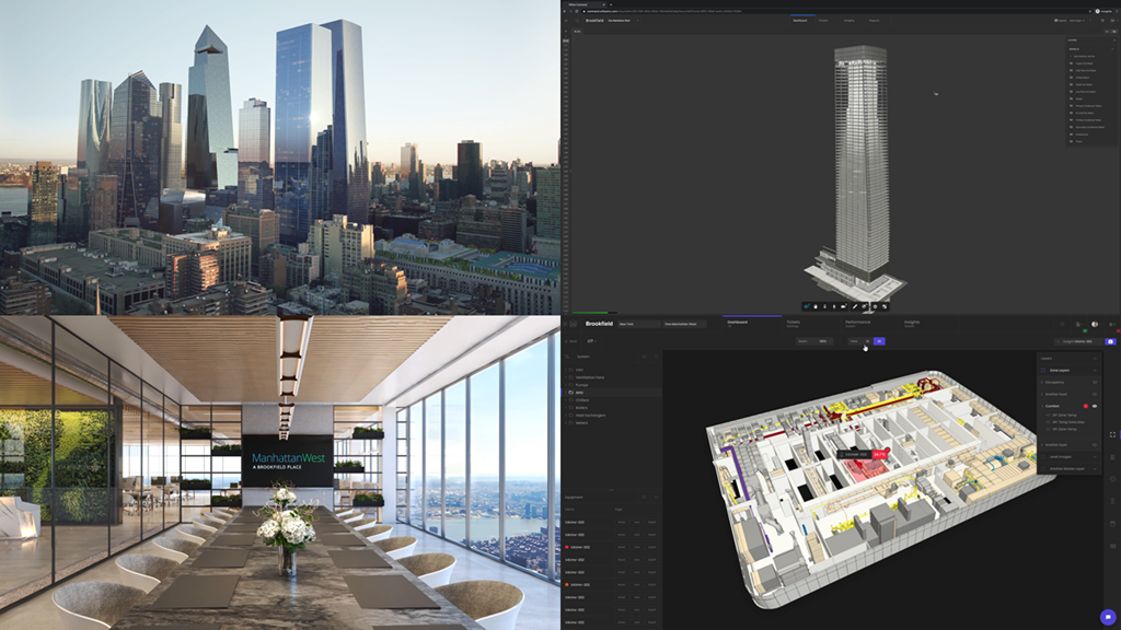 On the left, pictures of Brookfield's One Manhattan West building.  On the right, pictures of Willow's WillowTwin solution experience.
