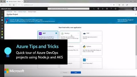 Thumbnail from Azure Tips and Tricks: A quick tour of Azure DevOps projects using Node.js and AKS: Part 1 on YouTube