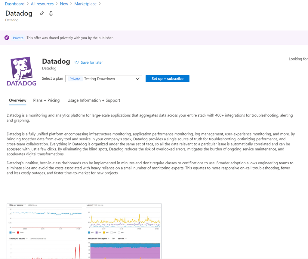 Datadog app on marketplace 1