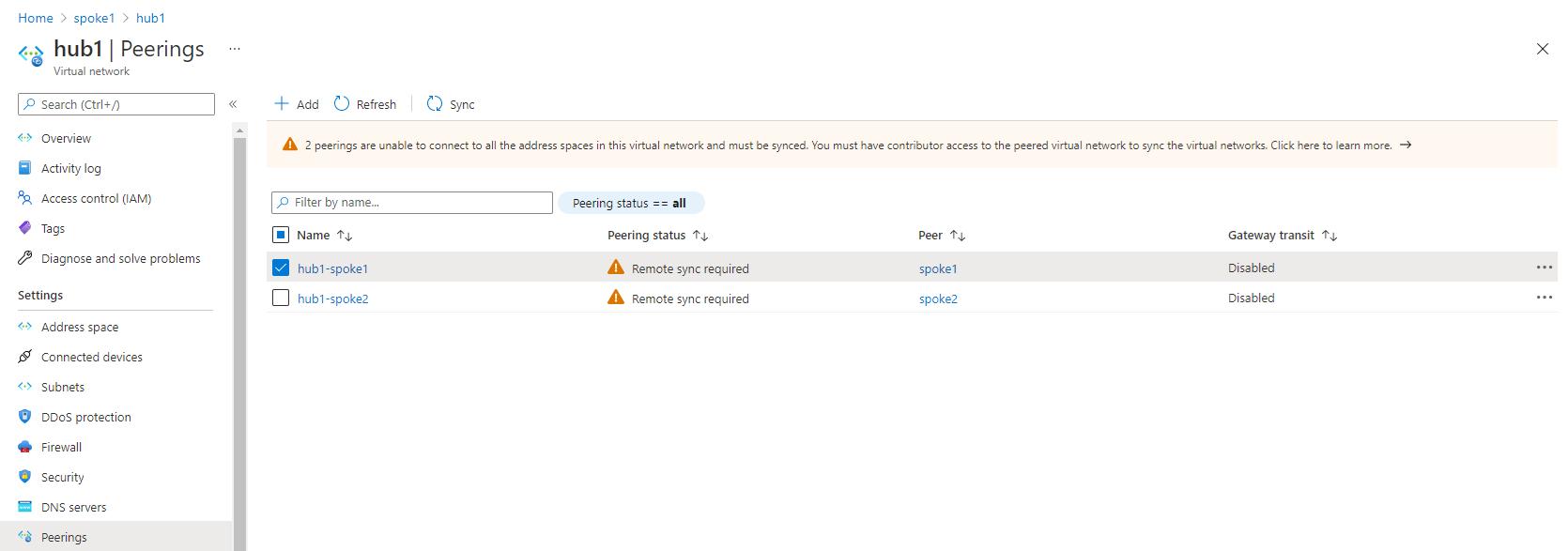 Hub 1 peerings tab in the Azure Portal showing virtual network