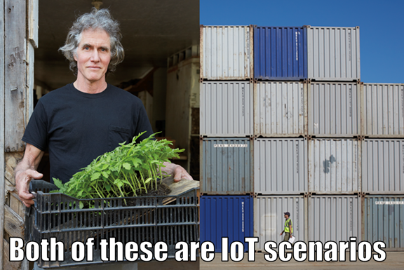 Two IoT scenarios side-by-side: on the left, a man holding a box of plants for planting. On the right, a stack of shipping containers.