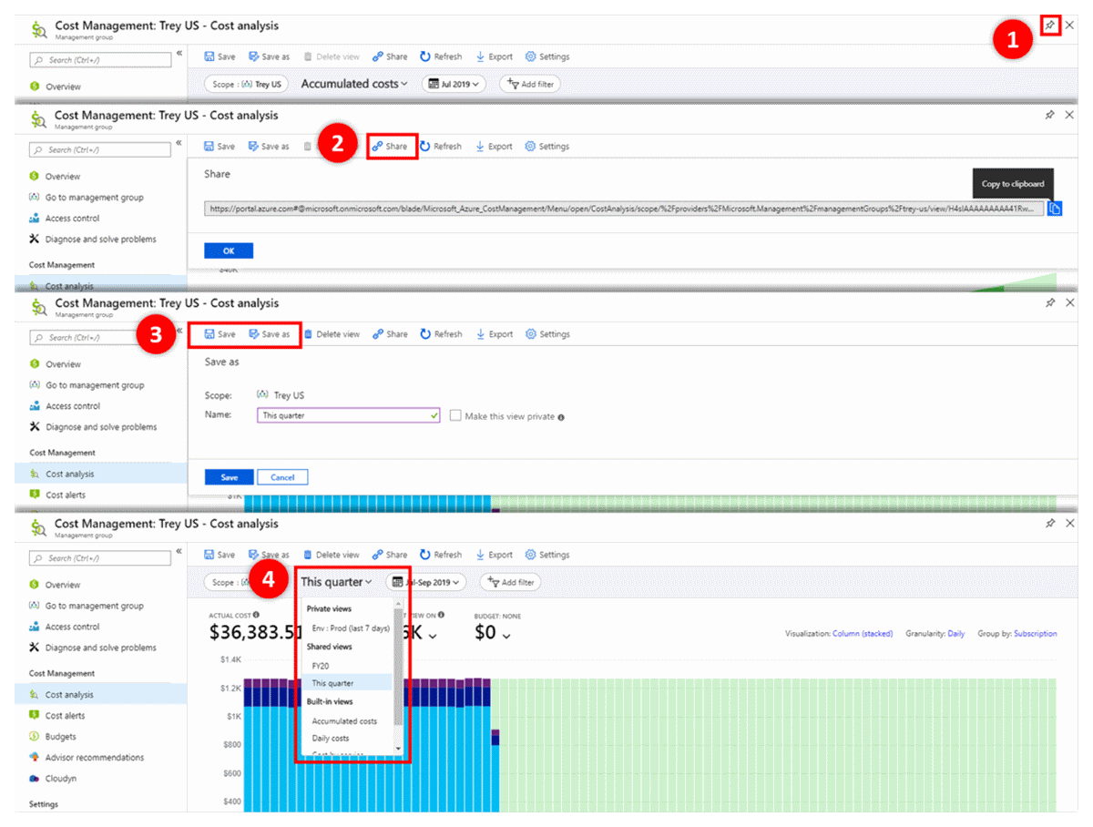 Save and share customized views in Azure Cost Management