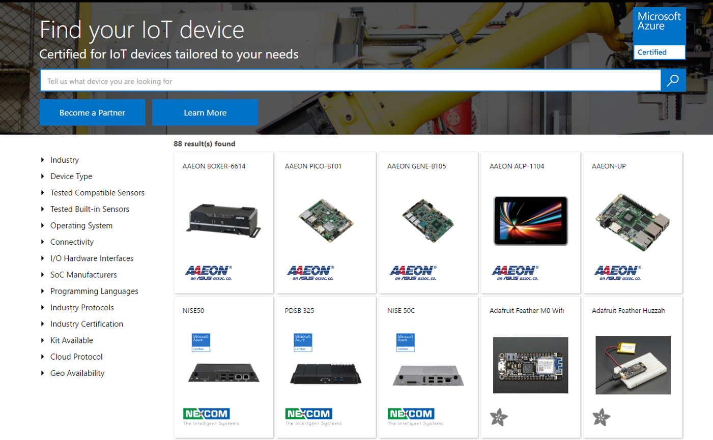 Azure certified for iot expands to help customers choose the right devicecatalog01new xflitez Image collections