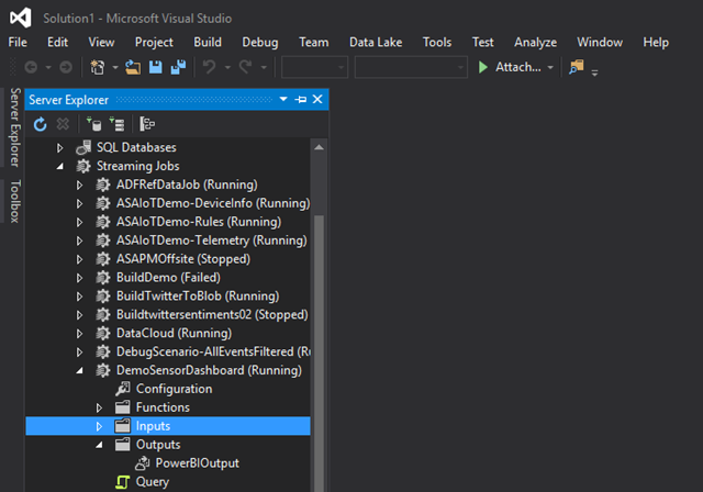 Stream Analytics jobs in Visual Studio