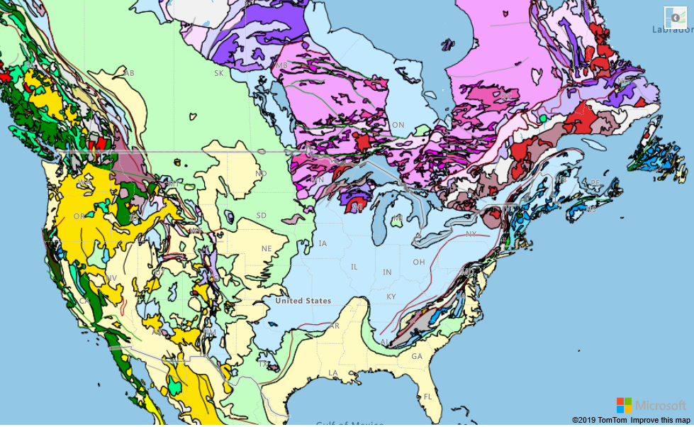 WMS overlay of world geological survey.