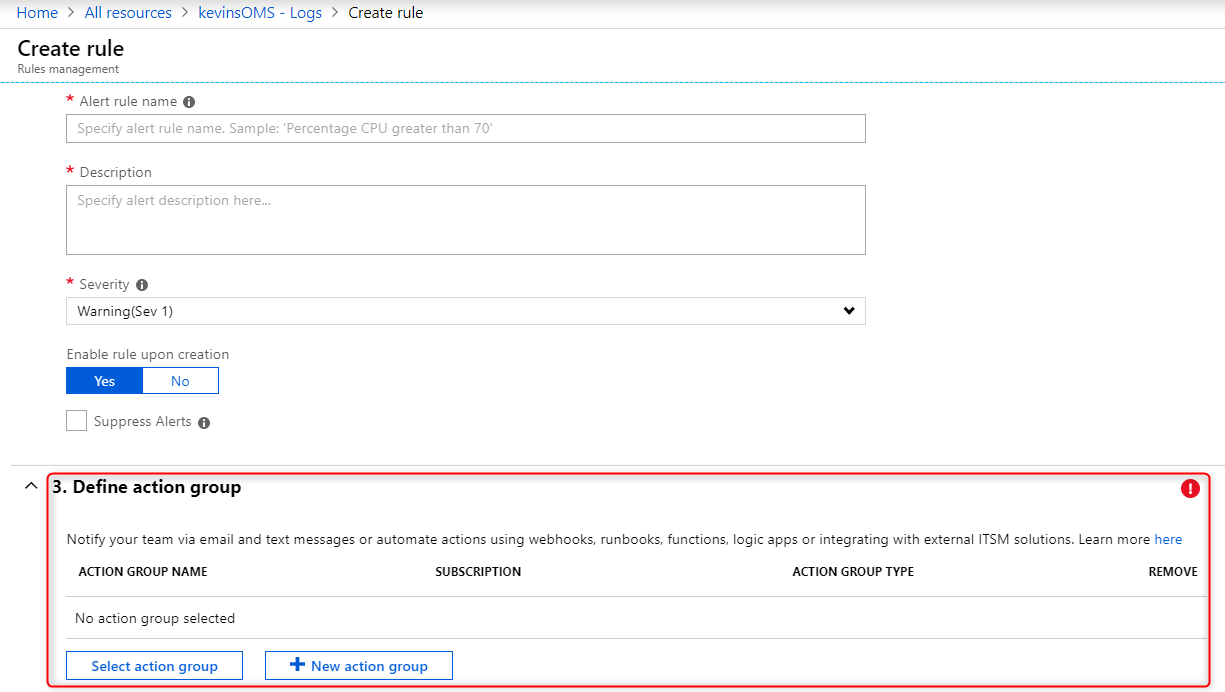 Azure Monitor Logs - Alerts