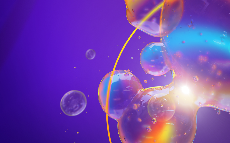 A purple image with bubbles