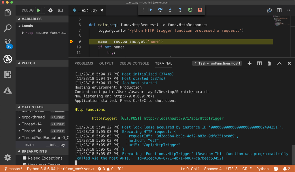 Screenshot of Visual Studio Code showing source and console output from a Python HTTP trigger function