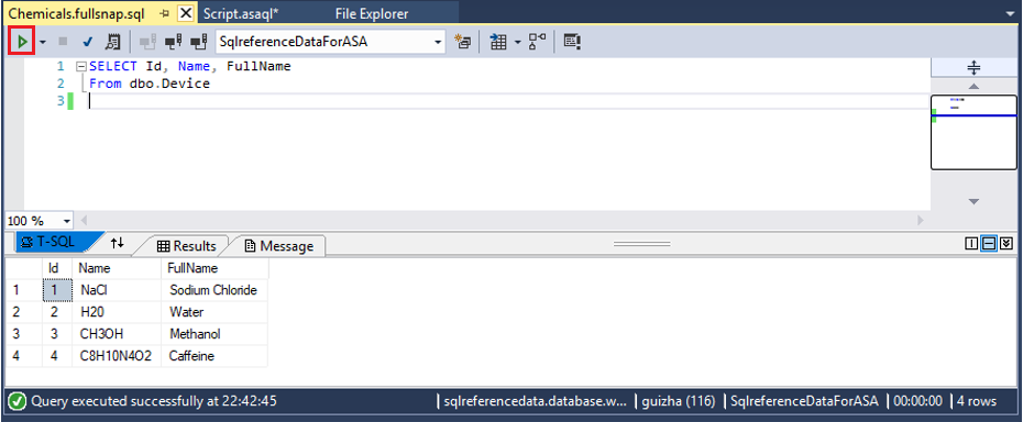 An image showing a test of SQL query being executed.