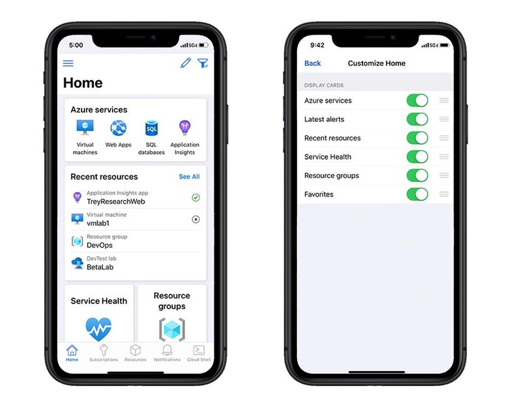 Azure mobile app の新しいホーム ページを示すイメージ。