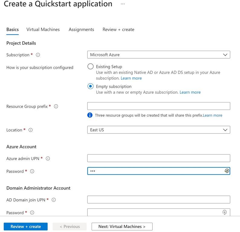 Create a Quickstart application