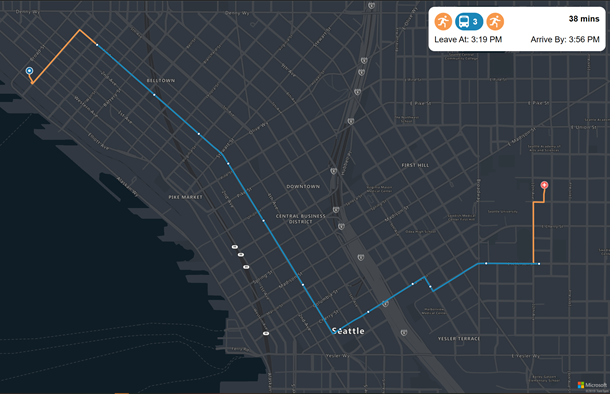 Request public transit routes and visualize routes on map.