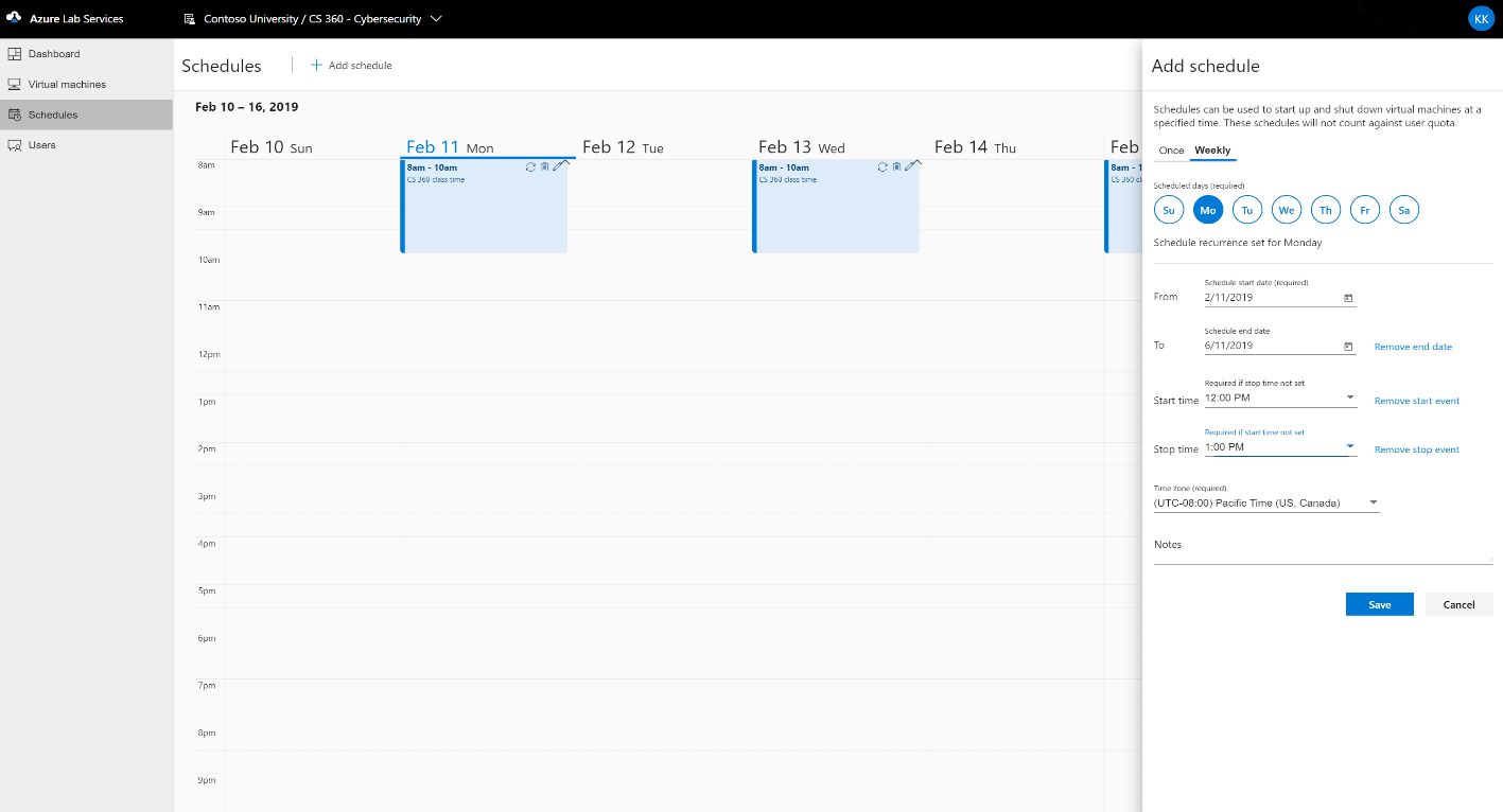 An example screen shot of how to set up scheduled in Azure Lab Services