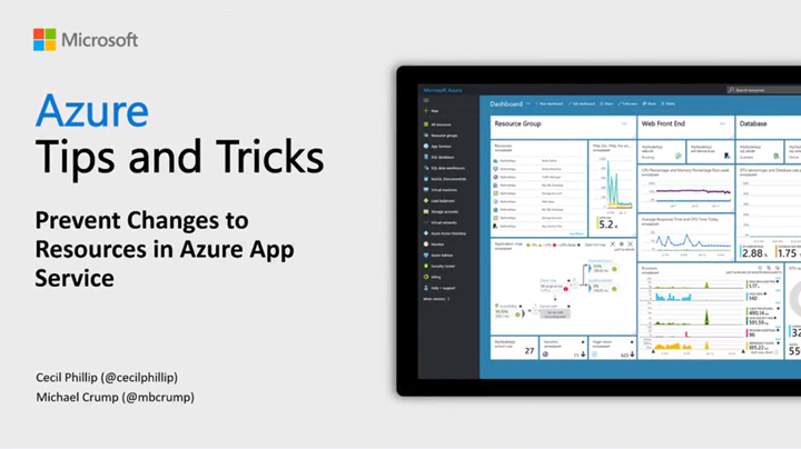 Thumbnail from Azure Tips & Tricks: How to prevent changes to resources in Azure App Services on YouTube