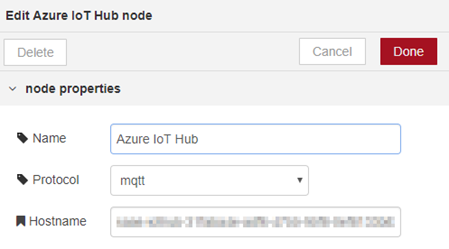 Azure IoT Hub node