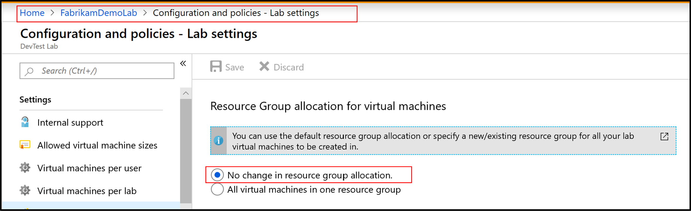 Screenshot of Resource Group allocation for virtual machines