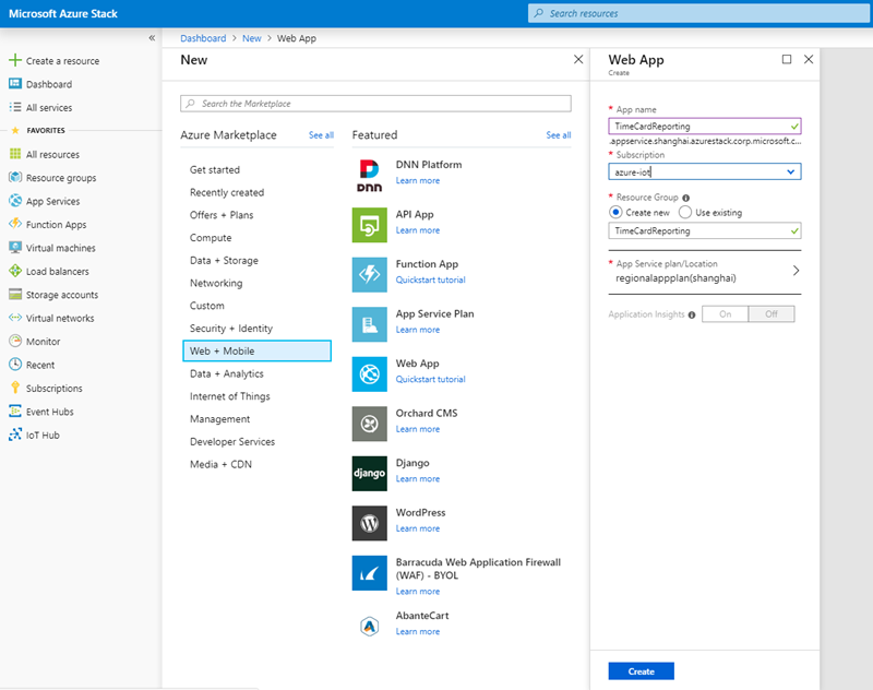 Screenshot showing how to create a web app in the Azure Stack portal