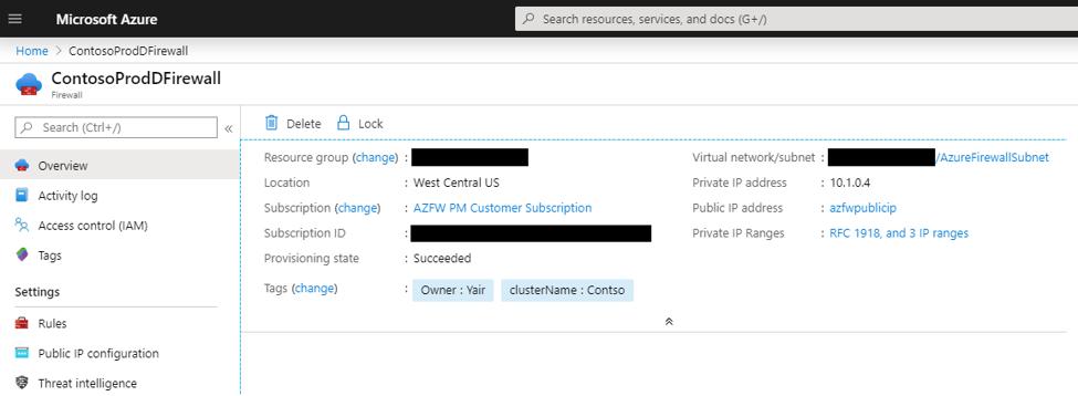 Azure Firewall mit benutzerdefinierten, privaten IP-Adressbereichen