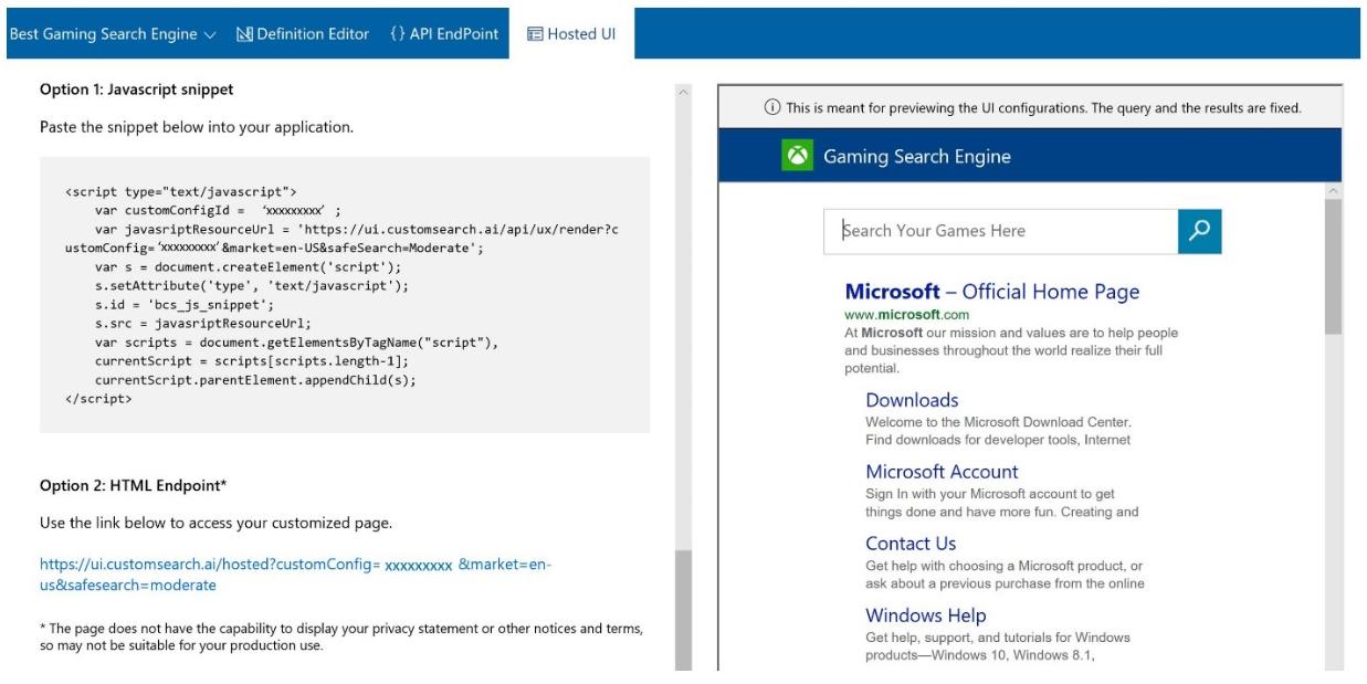 Bing Custom Search Hosted UI