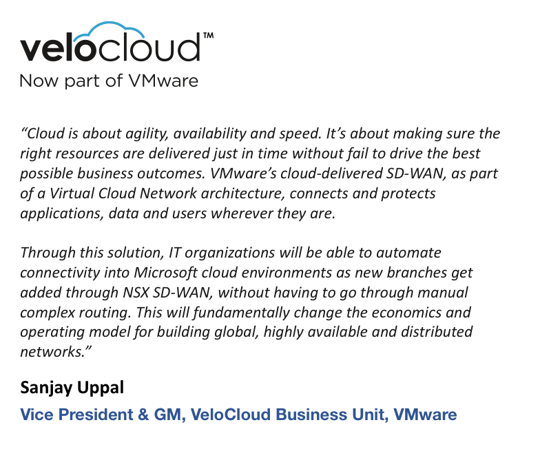 VeloCloud quote