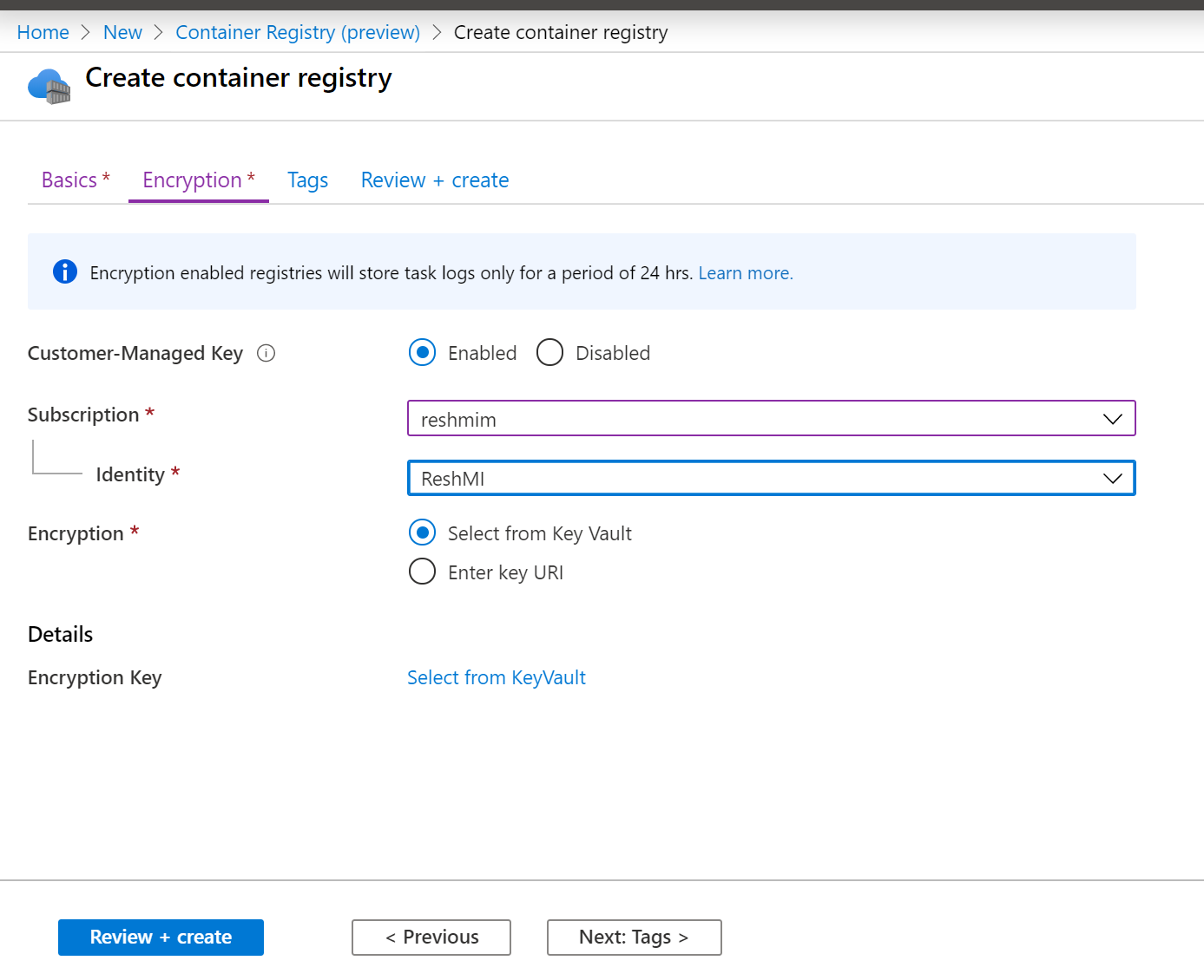 Figure 1: Create Container Registry with customer-managed keys encryption enabled