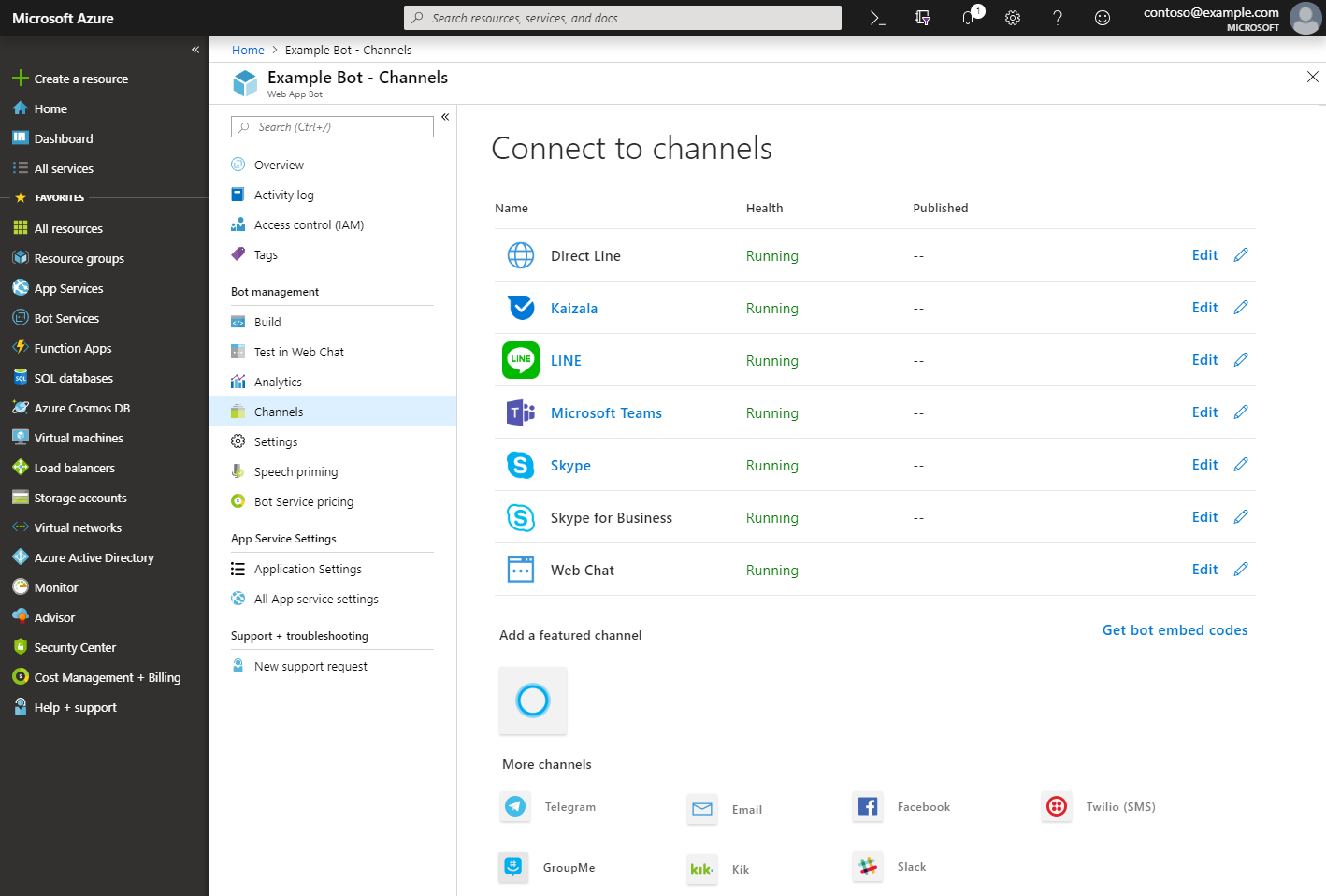 Channels blade in the Microsoft Azure portal