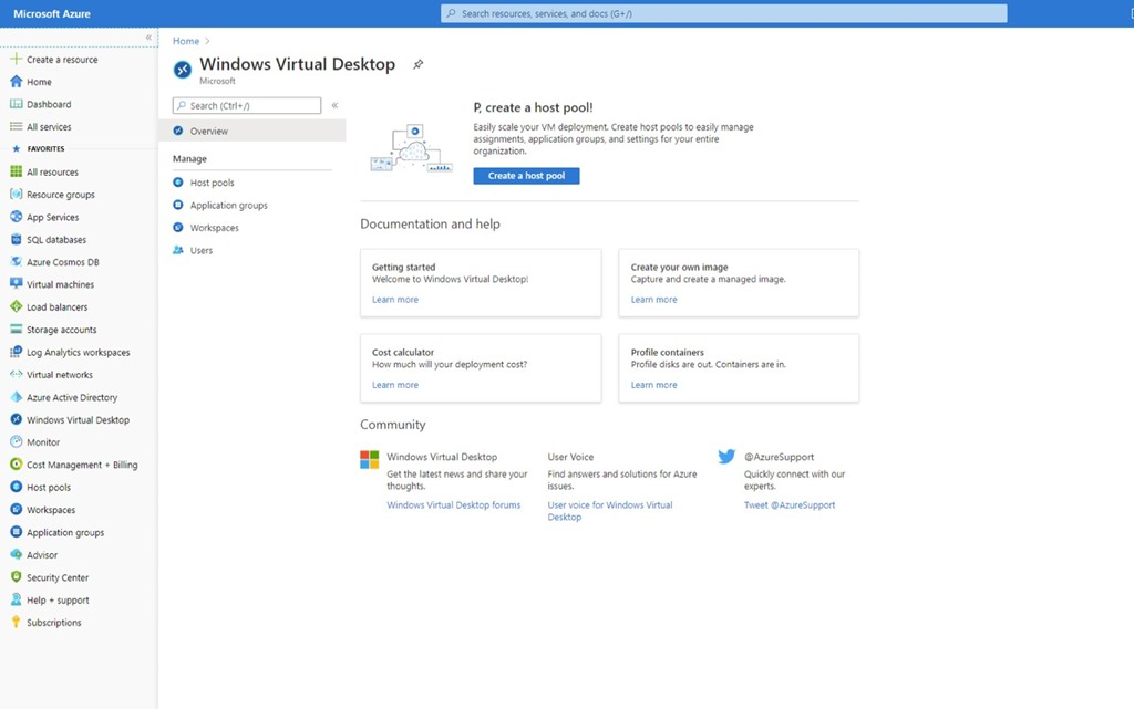 Windows Virtual Desktop blade in Azure portal