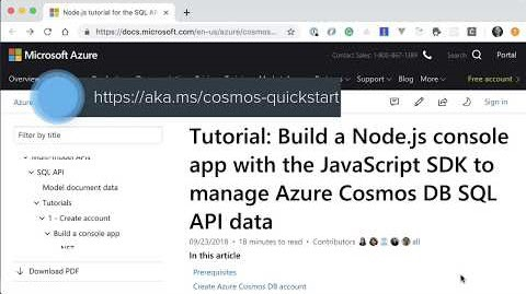 Thumbnail from Build a Node.js App with the npm Module for Azure Cosmos DB