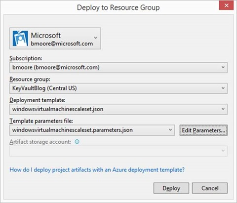 Resource Group Deployment Dialog
