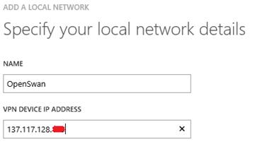 Add Azure Local Network dialog