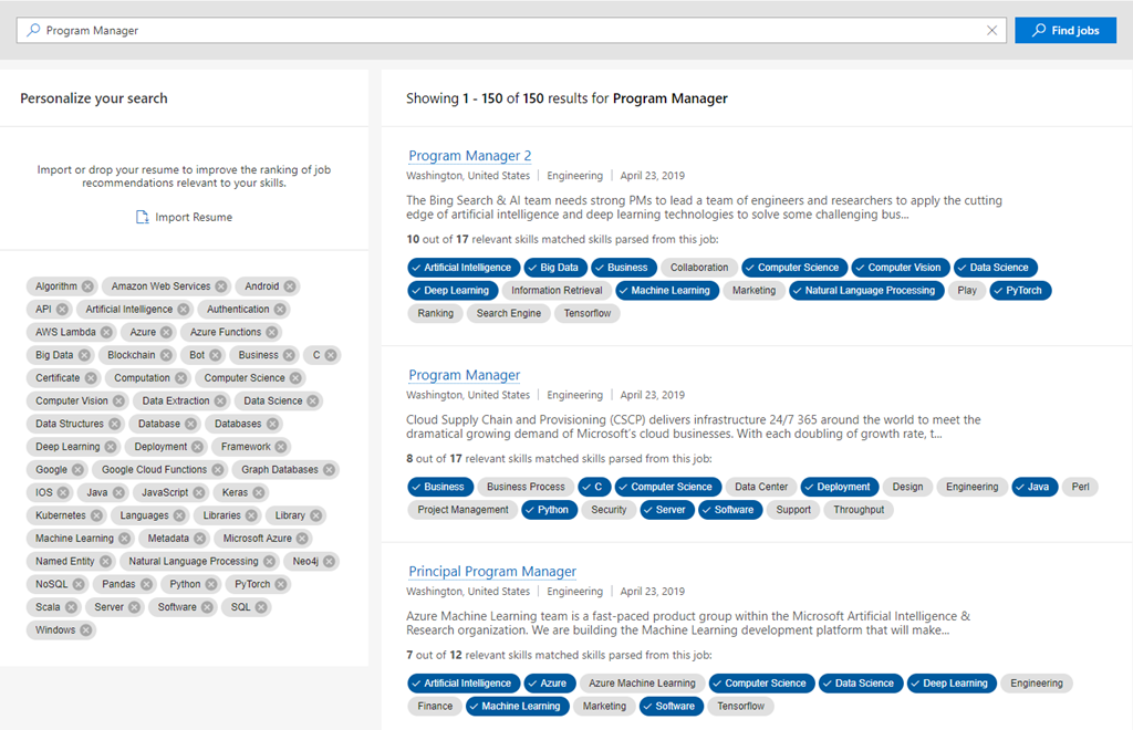 An image of the Worldwide Learning personalized jobs search demo UI