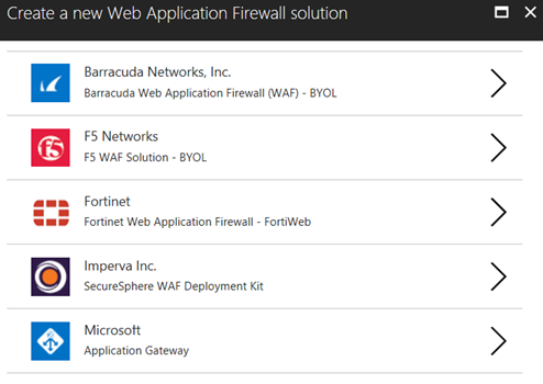 Create a new Web Application Firewall solution