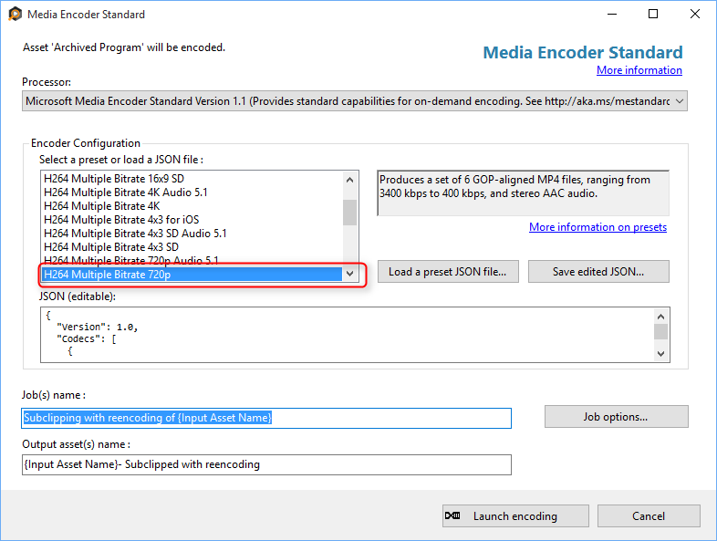 Encode Options for Rendered Sub-Clip