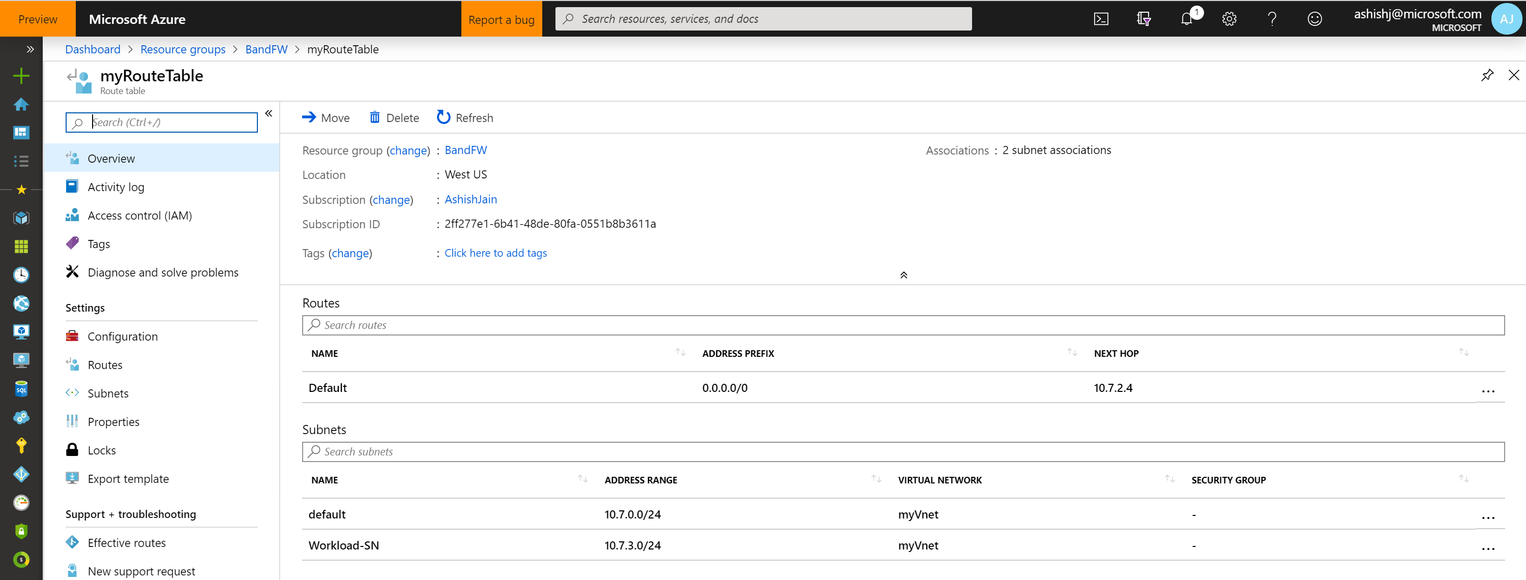 myRoute table in Microsoft Azure