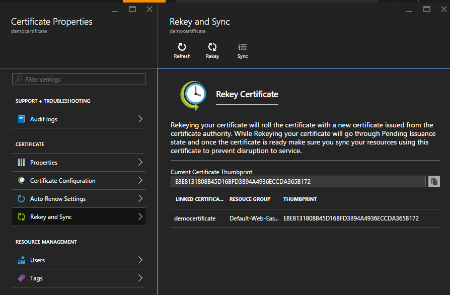 App Service Certificate ReKey and Sync