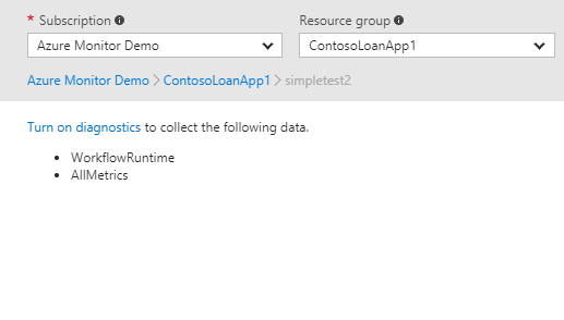 Azure no diagnostic settings