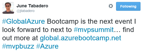 #GlobalAzure Bootcamp is the next event I look forward to next to #mvpsummit… find out more at https://global.azurebootcamp.net #mvpbuzz #Azure