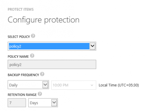 Input fields for the backup policy