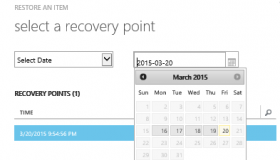 IaaS VM Restore operation - select recovery point