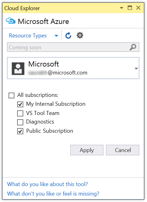 Azure Subscription via Cloud Explorer