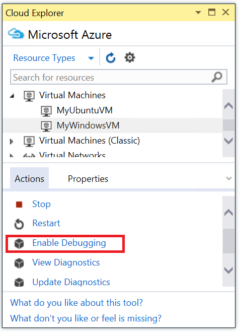 Enabling VM debugging