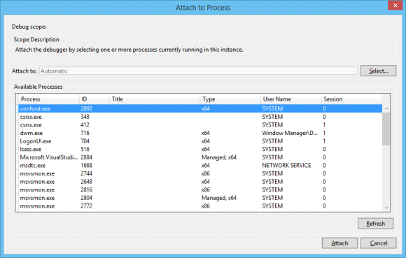 Attach to process dialog