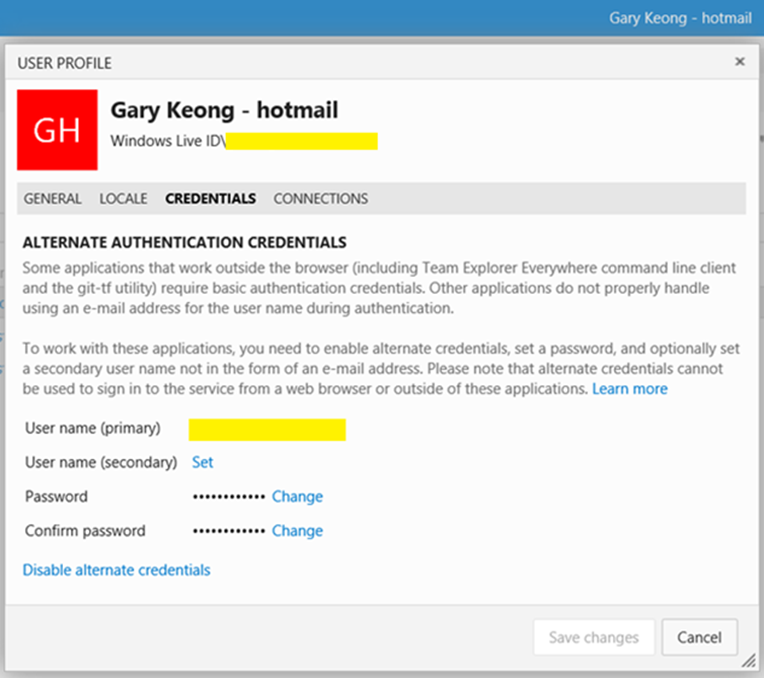 Alternate Credential User Profile dialog
