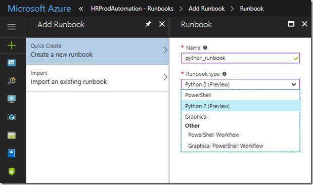 Python2 runbook creation