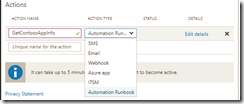 Automation runbook in action group: action types